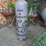 Feuerstelle mit persönlicher Beschriftung